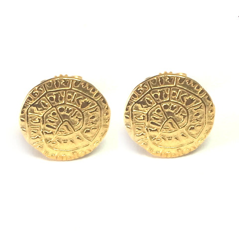 Sterling Silver 18 Karat Gold Overlay Greek Phaistos Stud Earrings