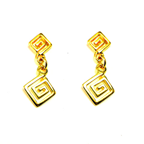 Sterling Silver 18 Karat Gold Overlay Greek Key Drop Earrings