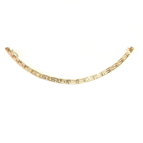 14k Yellow Gold Greek Key Link Bracelet, 7.25""