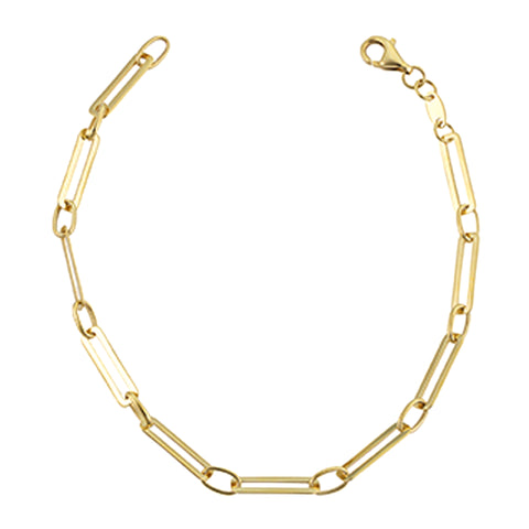 14k Yellow Gold Paperclip Chain Bracelet, 7.5""