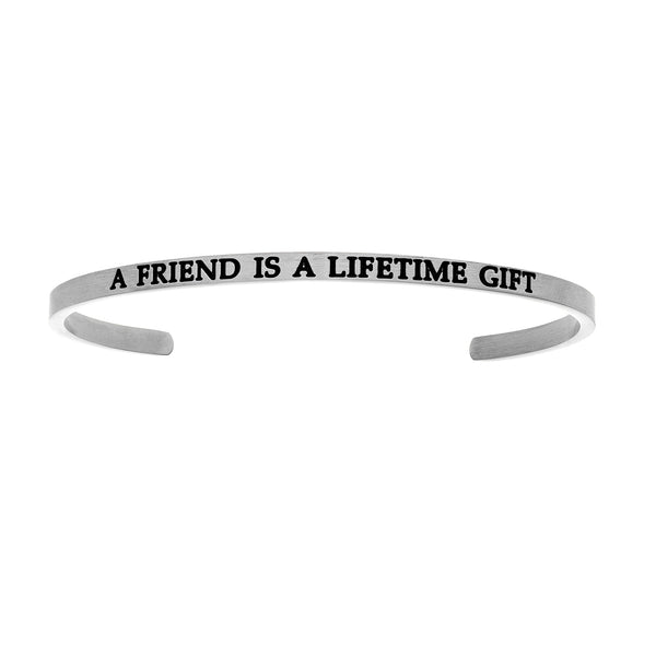 Intuitions Stainless Steel A FRIEND IS A LIFETIME GIFT Diamond Accent Cuff Bangle Bracelet
