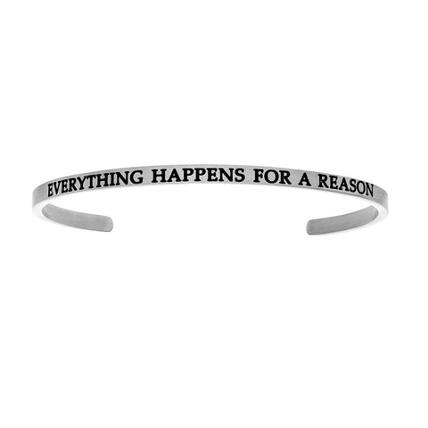 Intuitions Stainless Steel EVERYTHING HAPPENS FOR A REASON Diamond Accent Cuff Bangle Bracelet