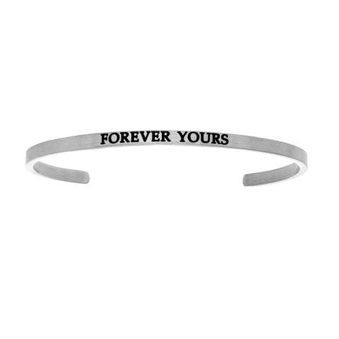 Intuitions Stainless Steel FOREVER YOURS Diamond Accent Cuff Bangle Bracelet