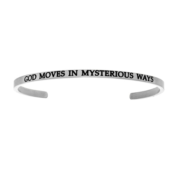 Intuitions Stainless Steel GOD MOVES IN MYSTERIOUS WAYS Diamond Accent Cuff Bangle Bracelet