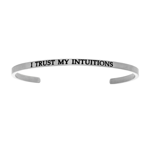 Intuitions Stainless Steel I TRUST MY S Diamond Accent Cuff Bangle Bracelet