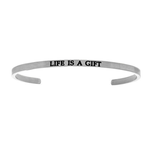 Intuitions Stainless Steel LIFE IS A GIFT Diamond Accent Cuff Bangle Bracelet