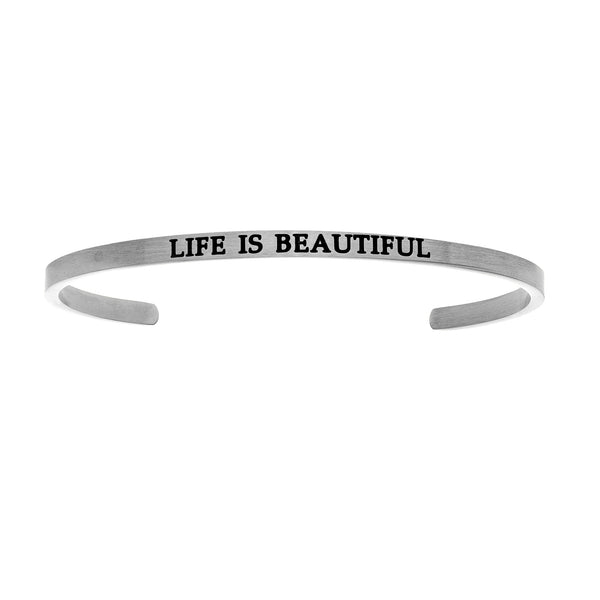 Intuitions Stainless Steel LIFE IS BEAUTIFUL Diamond Accent Cuff Bangle Bracelet