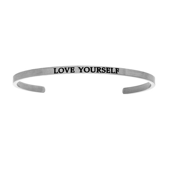 Intuitions Stainless Steel LOVE YOURSELF Diamond Accent Cuff Bangle Bracelet