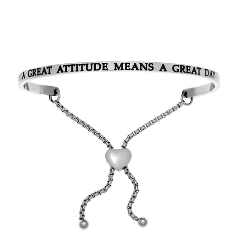 Intuitions Stainless Steel A GREAT ATTITUDE MEANS A GREAT DAY Diamond Accent Adjustable Bracelet