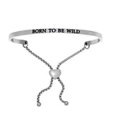 Intuitions Stainless Steel BORN TO BE WILD Diamond Accent Adjustable Bracelet