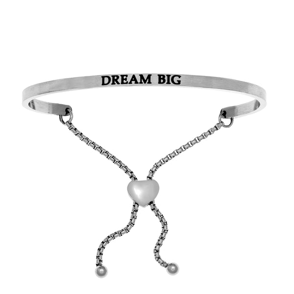 Intuitions Stainless Steel DREAM BIG Diamond Accent Adjustable Bracelet