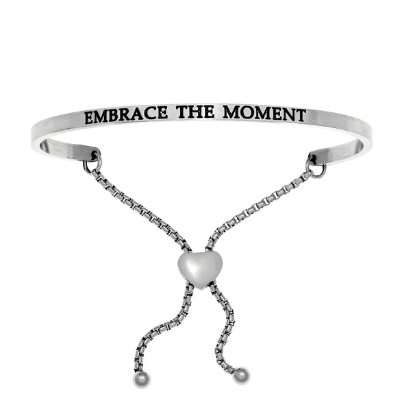 Intuitions Stainless Steel EMBRACE THE MOMENT Diamond Accent Adjustable Bracelet