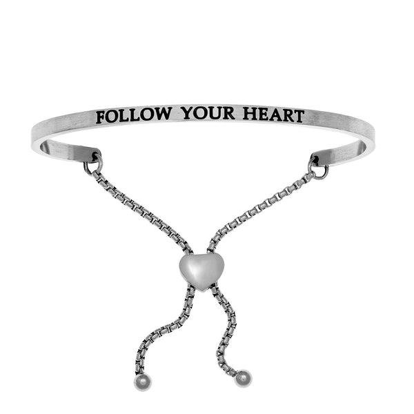 Intuitions Stainless Steel FOLLOW YOUR HEART Diamond Accent Adjustable Bracelet