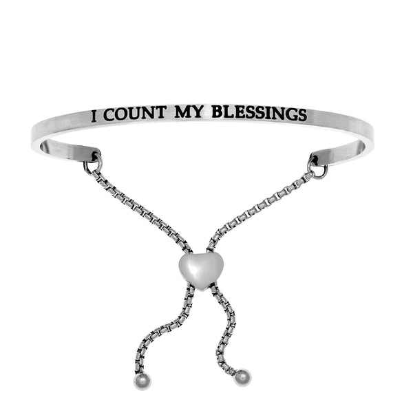 Intuitions Stainless Steel I COUNT MY BLESSINGS Diamond Accent Adjustable Bracelet
