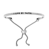 Intuitions Stainless Steel I LIVE BY FAITH Diamond Accent Adjustable Bracelet
