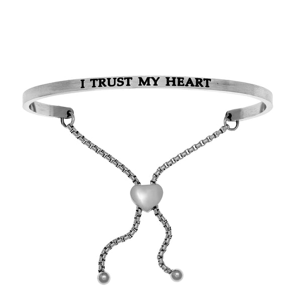 Intuitions Stainless Steel I TRUST MY HEART Diamond Accent Adjustable Bracelet
