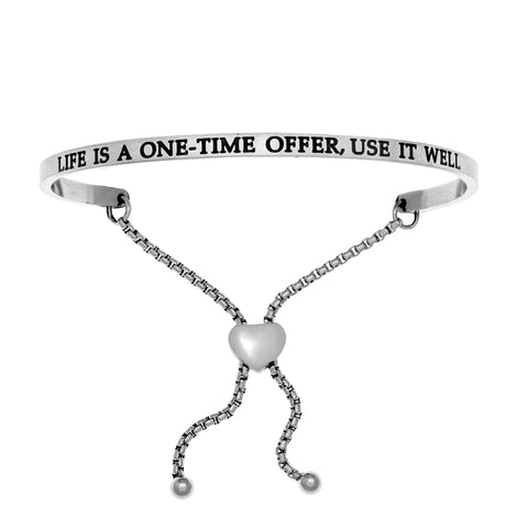 Intuitions Stainless Steel LIFE IS A ONE-TIME OFFER, USE IT WELL Diamond Accent Adjustable Bracelet