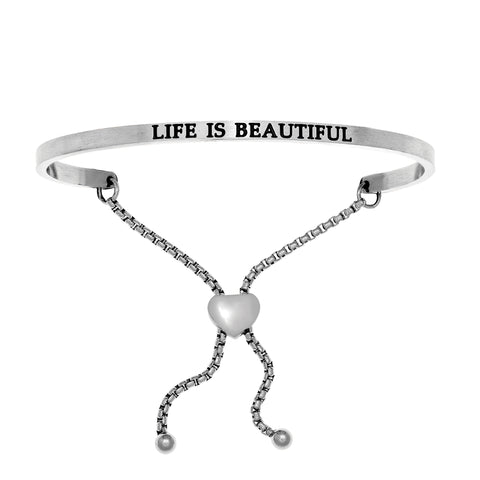 Intuitions Stainless Steel LIFE IS BEAUTIFUL Diamond Accent Adjustable Bracelet