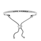 Intuitions Stainless Steel LOVE YOURSELF Diamond Accent Adjustable Bracelet