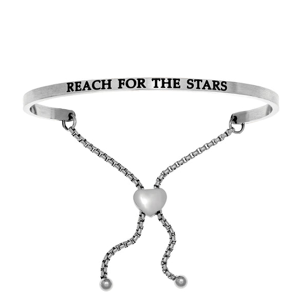 Intuitions Stainless Steel REACH FOR THE STARS Diamond Accent Adjustable Bracelet