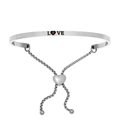 Intuitions Stainless Steel Satin Square Love Bangle Bracelet