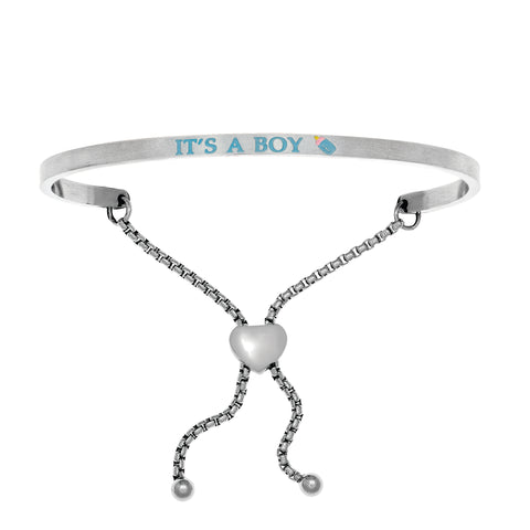 Intuitions Stainless Steel Satin Square It's A Boy Bangle Bracelet