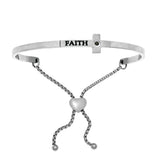 Intuitions Stainless Steel Shiny Square Sideways Cross Bangle Bracelet