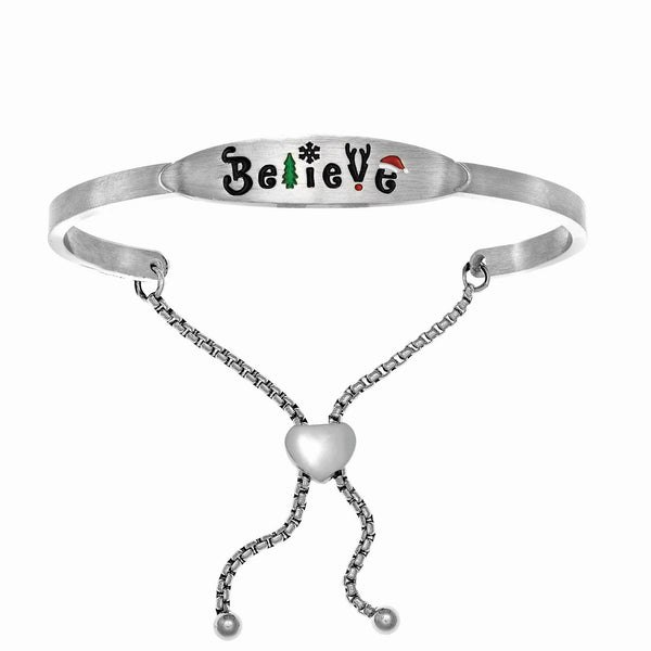 Intuitions Stainless Steel Square Tube Christmas Believe Adjustable Bracelet