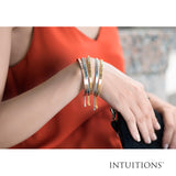 Intuitions Stainless Steel FOLLOW YOUR HEART Diamond Accent Cuff Bangle Bracelet
