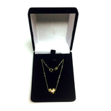 10K Yellow Gold Puffed Heart Pendant Necklace, 18""