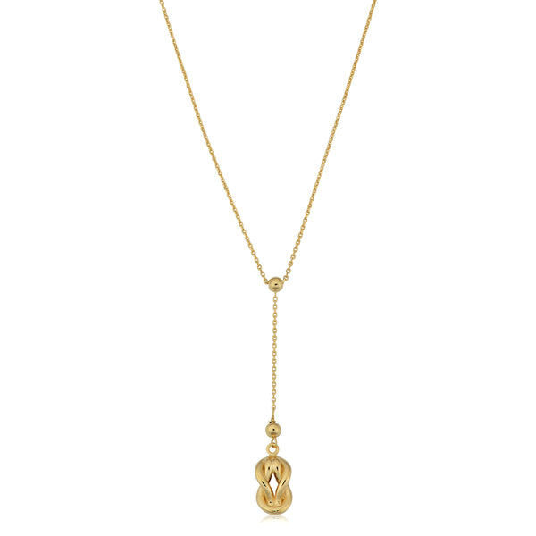 10K Yellow Gold Love Knot Drop Pendant Necklace, 18""