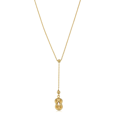 "10K Yellow Gold Love Knot Drop Pendant On 18"" Larriat Necklace"