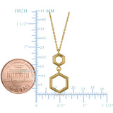 10K Yellow Gold Double Hexagon Geometric Pendant Necklace, 18""