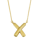 10K Yellow Gold Fancy X Pendant Necklace, 17""