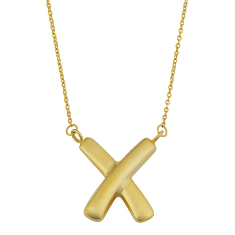 "10K Yellow Gold Fancy ""X"" Pendant On 17"" Necklace"