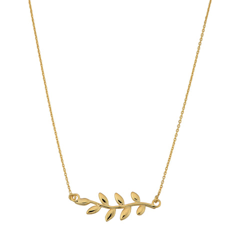 10K Yellow Gold Olive Leaf Pendant Necklace, 18""