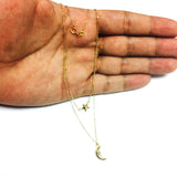 10K Yellow Gold Moon And Star Layered Pendant Necklace, 17""