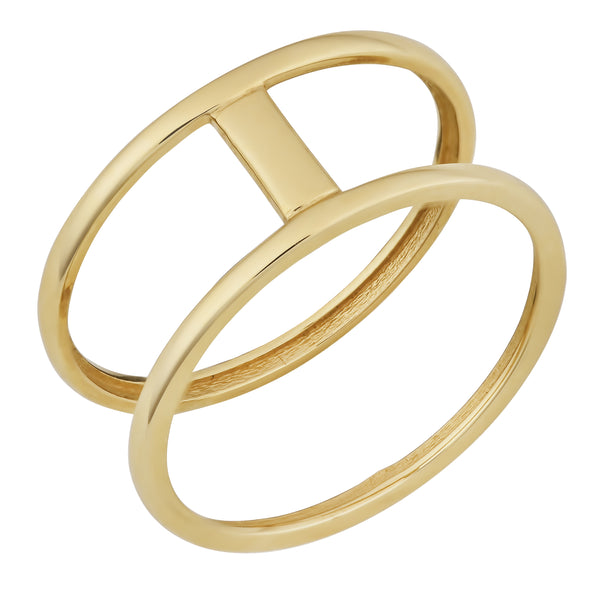 10k Yellow Gold High Polish Bar Double Ring
