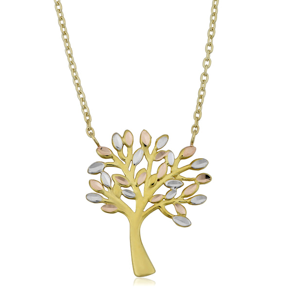 "10K Tricolor Gold Tree Of Life Pendant On 17"" To 18"" Adjustable Necklace"