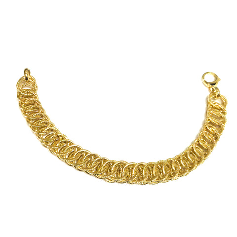14k Yellow Gold Double Round Woven Link Fancy Bracelet, 7.75""