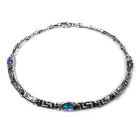 Sterling Silver Rhodium Plated Greek Key Bracelet and Synthetic Opal, 7.25""