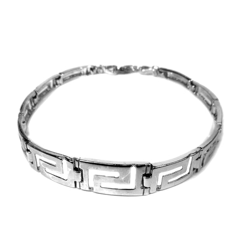Sterling Silver Rhodium Plated Greek Key Men's Bracelet, 7.25""