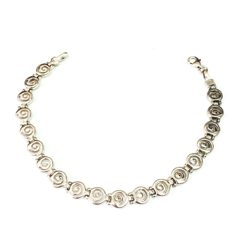 Sterling Silver Rhodium Plated Greek Spira Bracelet, 7.25""