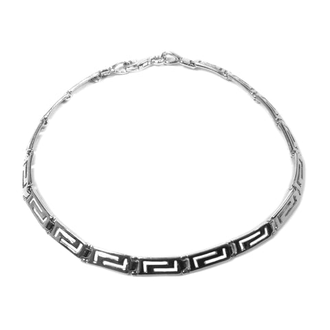 Sterling Silver Rhodium Plated Greek Key Bracelet, 7.5""
