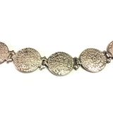 Sterling Silver Rhodium Plated Phaistos Disc Link Bracelet, 7""