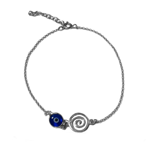 "Greek Spiral Key Double Sided Evil Eye Adjustable Bracelet Sterling Silver - 7"" to 8.5"""