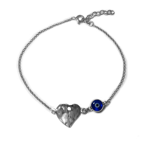 "Hammered Heart Double Sided Evil Eye Adjustable Bracelet Sterling Silver - 7"" to 8.5"" - JewelryAffairs  - 1"