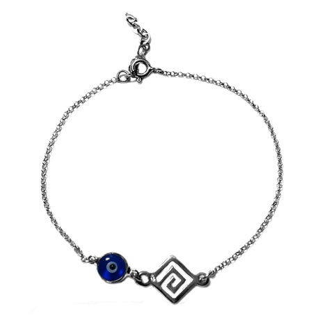 "Greek Key Double Sided Evil Eye Adjustable Bracelet Sterling Silver, 7"" to 8.5"""