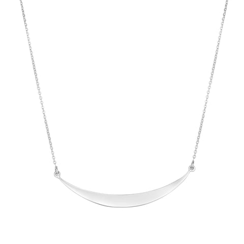 Sterling Silver Curve Bar Necklace, 18""