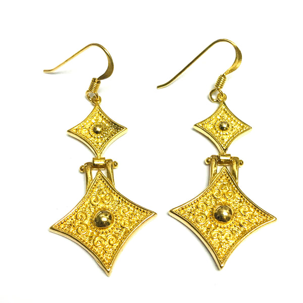 Sterling Silver 18 Karat Gold Overlay Byzantine Style Triangle Drop Earrings